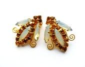 RESERVED Vintage Rhinestone Bug Earrings