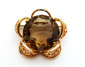 Vintage Smokey Brown Faceted Glass Brooch D'or