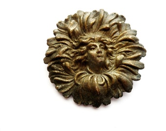 Antique Art Nouveau Repousse Cast Metal Portrait Brooch
