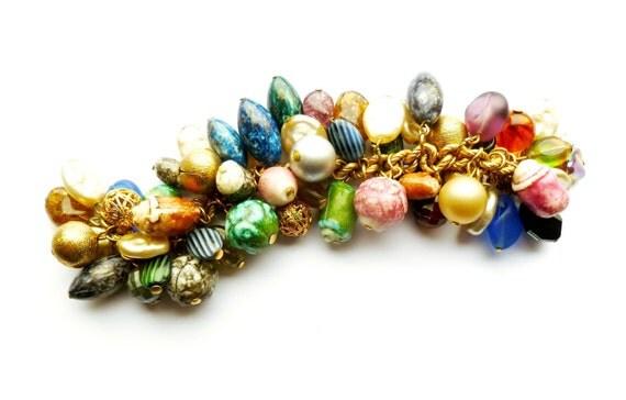 Reserved Vintage Multi Color Cha Cha Charm Bracelet