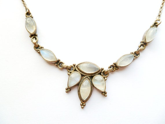 Vintage Moonstone Sterling Necklace