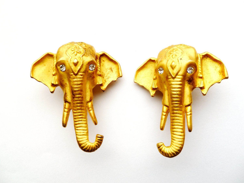 Vintage Golden Elephant Clip On Earrings