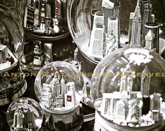 New York City Snowglobes 8x10 Black and White Fine Art Print