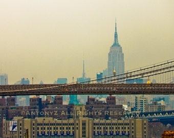 Empire State behind the Manhattan Bridge in New York City 8x10 Fine Art Print