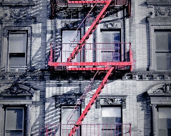 Apartment Building and Red Fire Escape in the East Village Manhattan 8x10 Fine Art Print