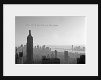 New York City Skyline 8x10 Black and White Fine Art Print