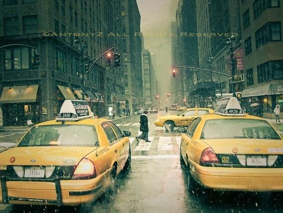 Snow Falling in New York City 8x10 Fine Art Print