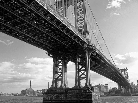 Down Under the Manhattan Bridge in New York City 8x10 Black and White Fine Art Print