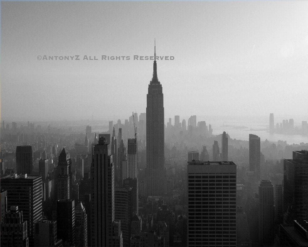 Classic New York City Skyline NYC Empire State 8x10 Black and