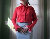 Vintage Sweetheart Red Secretary Blouse