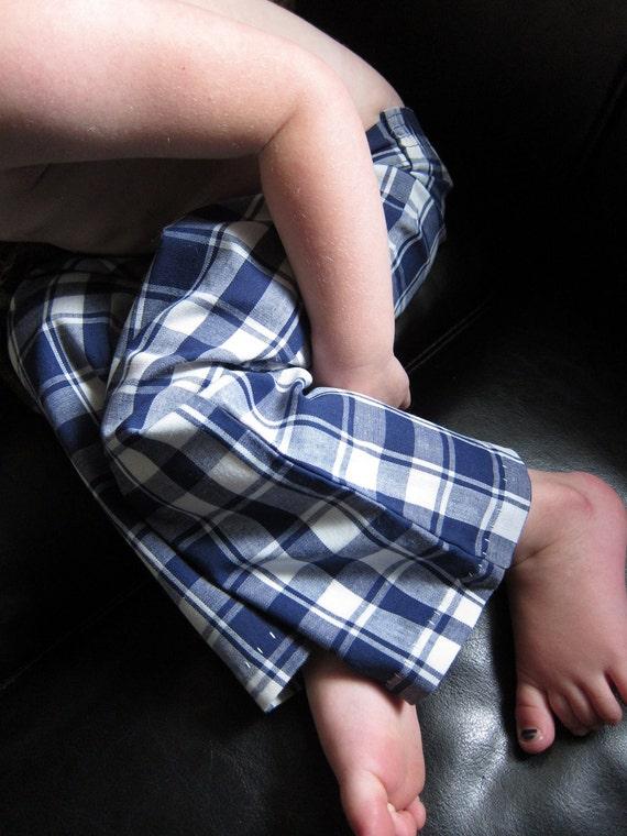 1960s Blue Plaid children's pants