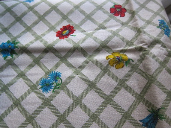 Green Criss-Cross with Bright Flowers Vintage Fabric