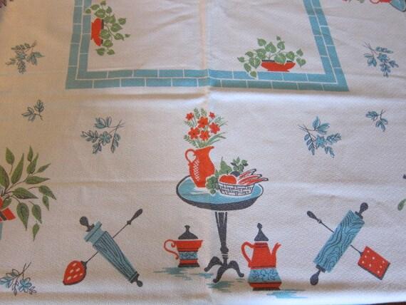 Retro 1960's Linen Tablecloth