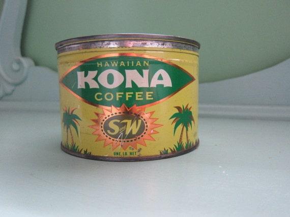 Vintage S&W Coffee Tin, Hawaiian Kona Coffee
