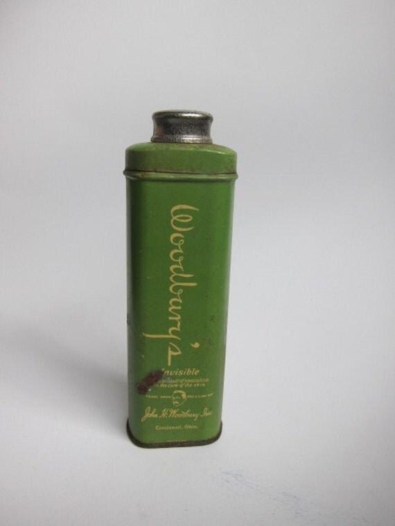 Vintage Woodbury's Talc Tin, Green, Shabby