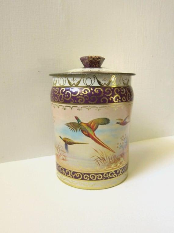 Vintage Horner Tin, Pheasants, Canister