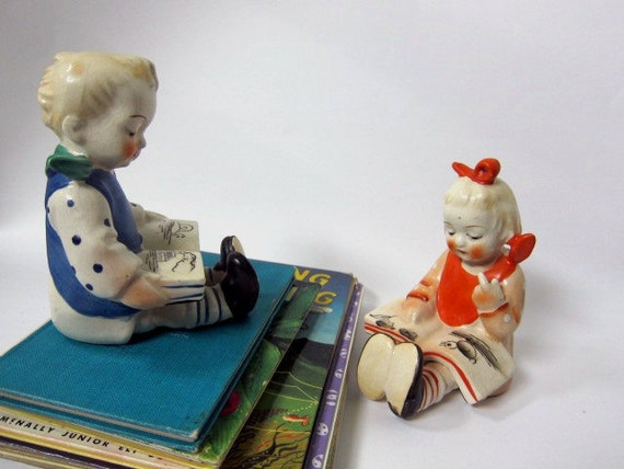 Boy and Girl Reading, Bookends, Colorful Vintage