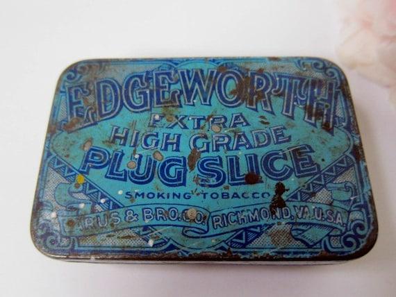 Edgeworth Tobacco Tin, Small, Blue and Shabby