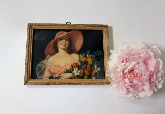 RESERVED Small Framed Print Lady in Hat with Flowers, Pink