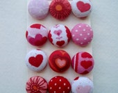 Valentines Fabric Covered Shank Buttons OR Brads OR Flat Backs