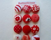Red Fabric Covered Buttons OR Brads