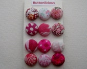 Pink Fabric Covered Shank Buttons OR Brads