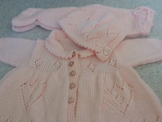 Hand Knitted Baby Girl Set, Soft and Cozy NB