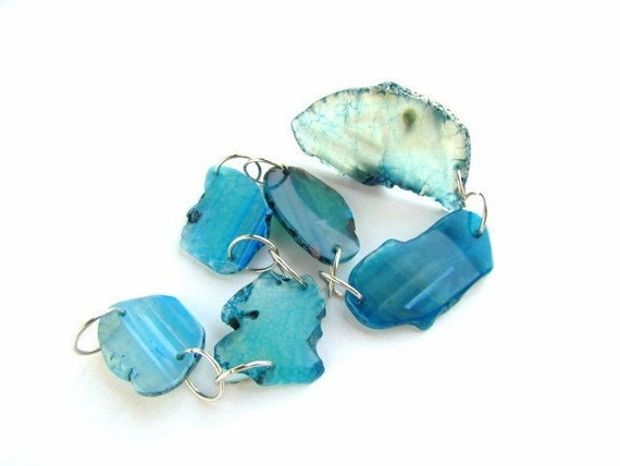 Gorgeous Blue cut Mineral Beads , Pendants , geo slice , 6 geode slice
