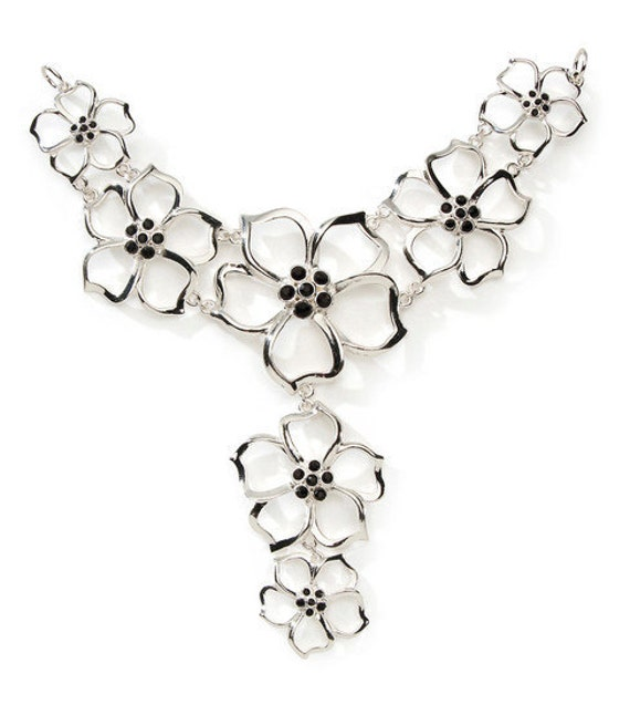 Open Flower w/ Black Rhinestones Necklace Bottom / Pendant Connector
