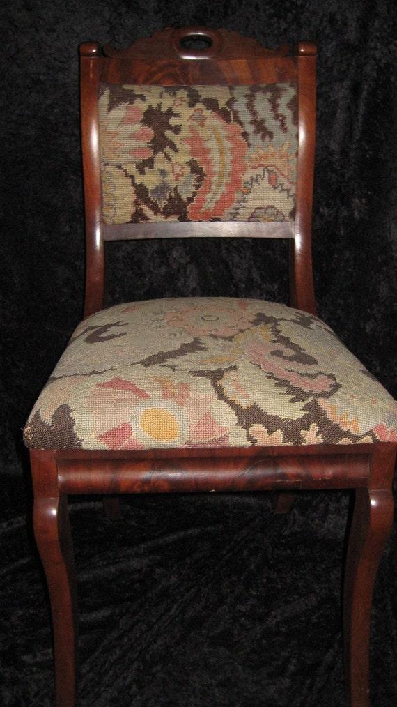 1840's Mahogany Empire Saber Leg Needle Point Chairs Set of 6