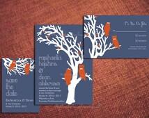 Diy PRINTABLE GARDEN OWLS Modern Save The Date Design Pdf Template Wedding Invitation Suite Program Engagement Party Couple Shower Custom