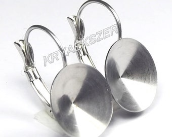 Hypoallergenic stainless steel french clip with 12mm Swarovski 1122 Rivoli cup