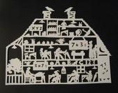 Vintage School House Paper Cutting Scherenschnitte Silhouette