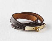 Equestrian Ornament Stitch Leather Bracelet(Dark Brown) - dasanda