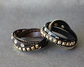 Rhinestone Stud Leather Bracelet(2 Colors)