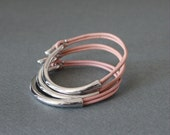 Rodium Silver Plated Leather Bracelet(Set of 3, baby pink)