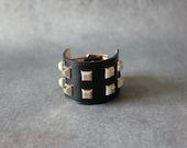 Square Stud Ornament Soft Leather Bracelet(Black)