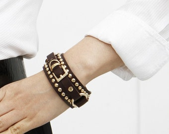 Belt and Stud Ornament  Leather Bracelet(T.Moro)