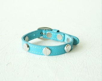 French Stud Leather Bracelet(Turquiose)