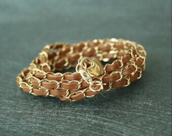 Chain Leather Bracelet(2 colors)
