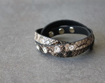 Phython Pattern Leather Wrap Bracelet