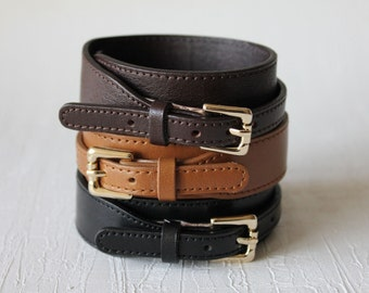 Belt Buckle Closure Leather Bracelet Minimal Style(3 colors)