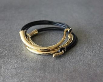 Deep Gold Plated Leather Bracelet (Set of 3, BLACK)