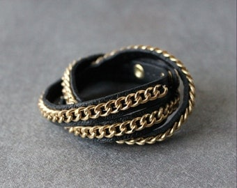 Flat Chain Leather Bracelet( 4 colors)