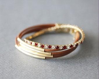String Leather with Tennis Crystal Bracelet(Set of 2 bracelet)