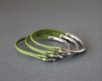 Rodium Silver Plated Leather Bracelet(Set of 3, Apple Green)