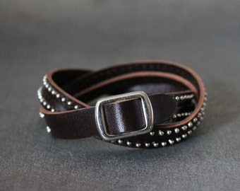 Stitched Leather String Bracelet(T.Moro/dark brown)