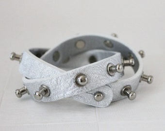 Bolt Stud Leather Bracelet(Silver)