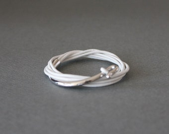 Leather Wrap Bracelet Rhodium Silver Plated Brass Hook(Milk White)