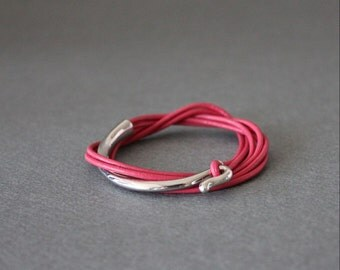 Leather Wrap Bracelet Rhodium Silver Plated Brass Hook(Hot Pink)